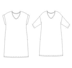 画像2: 半袖&七分袖・ドロップショルダープルオーバーワンピース型紙