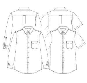 画像2: 【メンズ】ボタンダウンシャツ型紙(長袖、半袖付き)