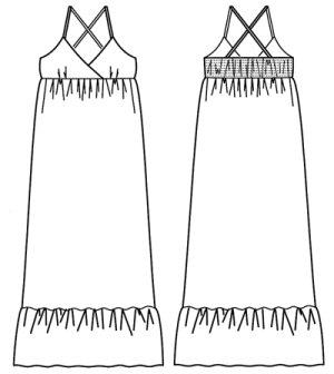 画像2: マキシ丈キャミワンピース型紙(シャーリング)