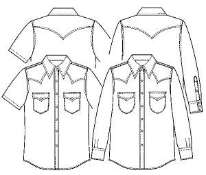 画像2: 【メンズ】ウエスタンシャツ型紙(長袖、半袖付き)