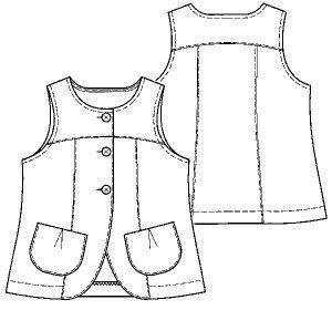 画像2: 【子供服】ロングベスト型紙