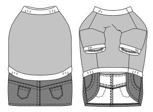 画像3: 犬服 デニムスカート付きTシャツ型紙 大型犬用