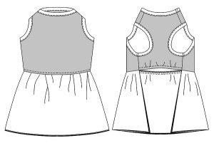画像3: 犬服 チュールワンピース型紙 大型犬用
