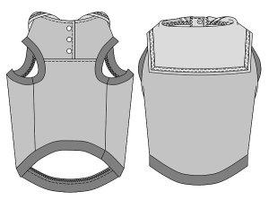 画像4: 犬服 セーラーカラータンクトップ型紙 大型犬用
